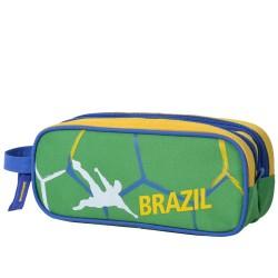 Coffre à crayons double Soccer Brazil